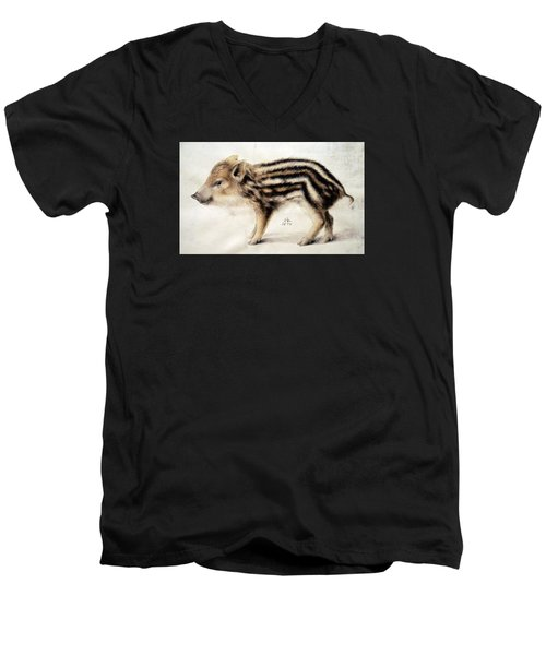 A Wild Boar Piglet Men's V-Neck T-Shirt by Hans Hoffmann