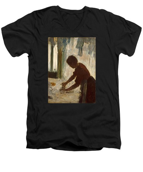 Men's V-Neck T-Shirt featuring the painting A Woman Ironing by Edgar Degas