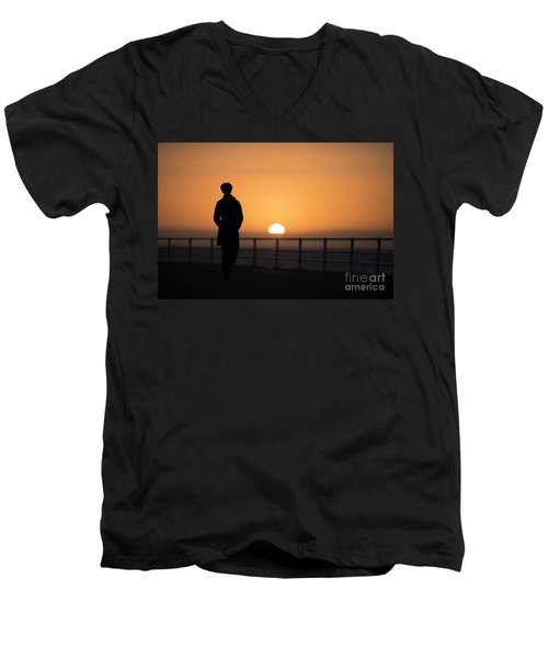 A Woman Silhouetted At Sunset Men's V-Neck T-Shirt