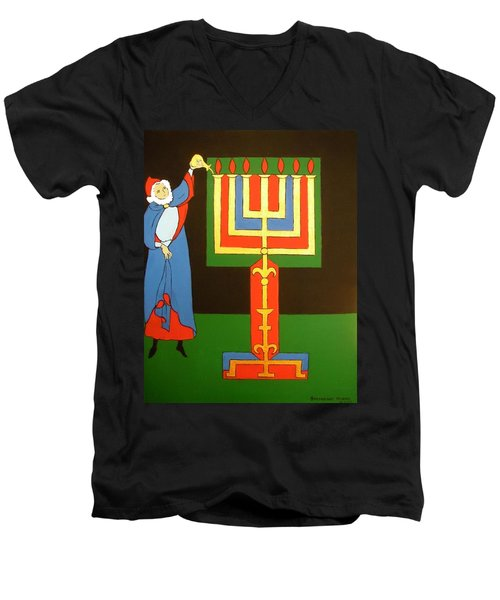 Men's V-Neck T-Shirt featuring the painting Aaron Lighting The Menorah by Stephanie Moore