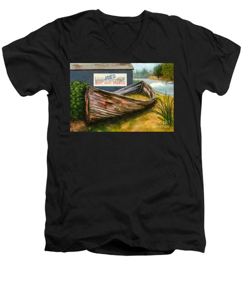 Painting Of Abandoned And Rotted Out Boat   Men's V-Neck T-Shirt