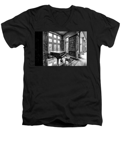 Abandoned Piano Monochroom- Urban Exploration Men's V-Neck T-Shirt by Dirk Ercken