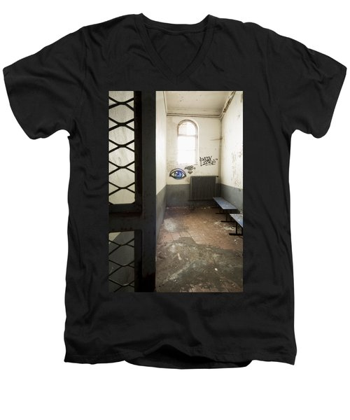 Abandoned Prison Cell With Grafitti Of Eye On Wall Men's V-Neck T-Shirt by Dirk Ercken