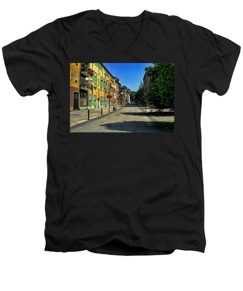 Men's V-Neck T-Shirt featuring the photograph Abandoned Street by Mariola Bitner