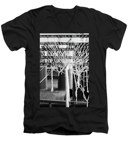 Abandoned Textile Mill, Lewiston, Maine  -48692-bw Men's V-Neck T-Shirt by John Bald