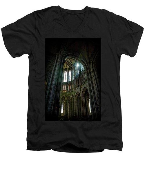 Abbey With Heavenly Light Men's V-Neck T-Shirt