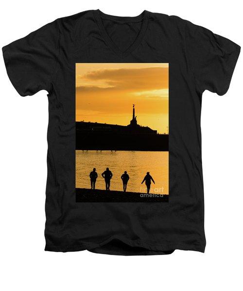Aberystwyth Sunset Silhouettes Men's V-Neck T-Shirt