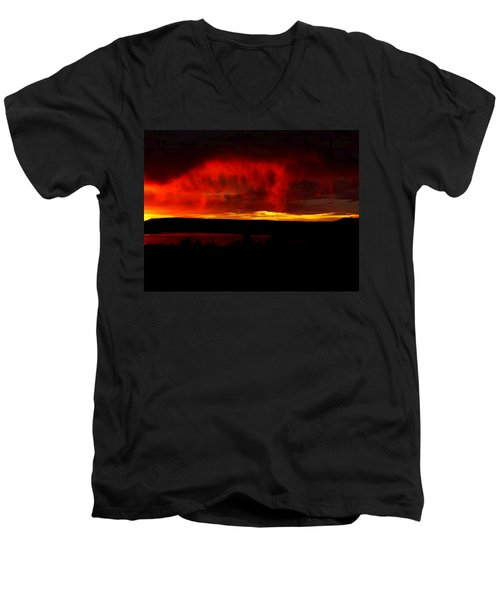 Men's V-Neck T-Shirt featuring the painting Abiquiu Reservoir  by Dennis Ciscel