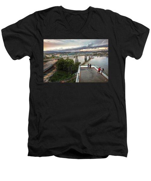Above The Bluff, Musuem View Men's V-Neck T-Shirt by Steven Llorca