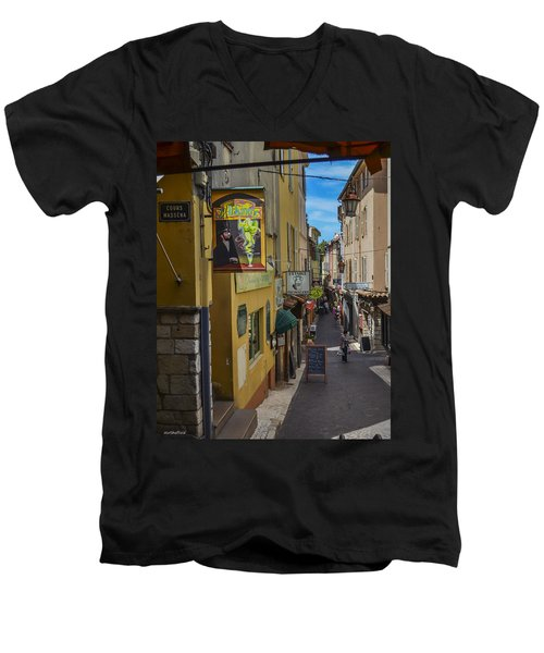 Men's V-Neck T-Shirt featuring the photograph Absinthe In Antibes by Allen Sheffield