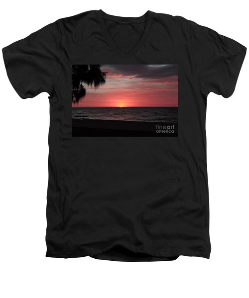 Abstract Beach Palm Tree Sunset Men's V-Neck T-Shirt