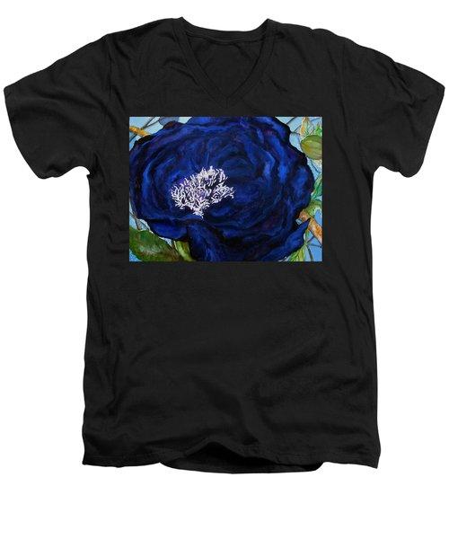 Abstract Blue Men's V-Neck T-Shirt