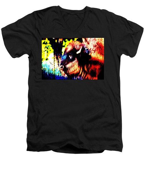 Abstract Buffalo Men's V-Neck T-Shirt by Lon Casler Bixby