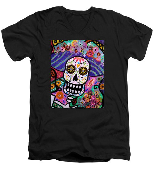 Abstract Catrina Men's V-Neck T-Shirt by Pristine Cartera Turkus