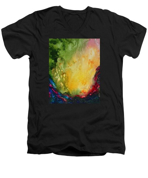 Abstract Color Splash Men's V-Neck T-Shirt