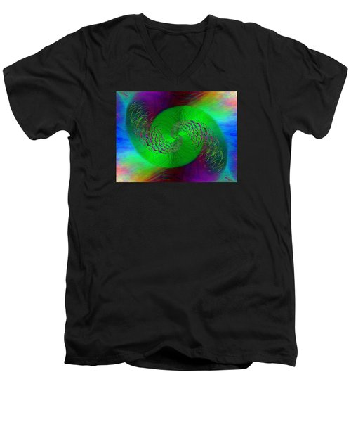 Men's V-Neck T-Shirt featuring the digital art Abstract Cubed 378 by Tim Allen