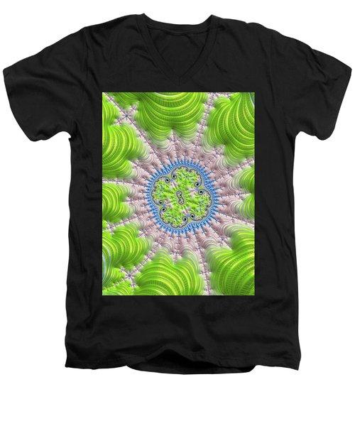 Men's V-Neck T-Shirt featuring the digital art Abstract Fractal Art Greenery Rose Quartz Serenity by Matthias Hauser