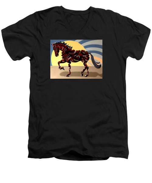 Men's V-Neck T-Shirt featuring the painting Abstract Geometric Futurist Horse by Mark Webster