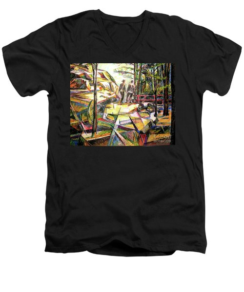 Abstract Landscape With People Men's V-Neck T-Shirt by Stan Esson