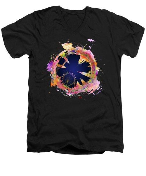 Abstract London Skyline At Night Men's V-Neck T-Shirt