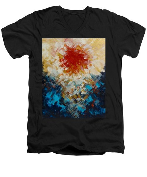 Abstract Blood Moon Men's V-Neck T-Shirt