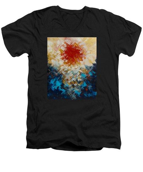 Abstract Blood Moon Men's V-Neck T-Shirt
