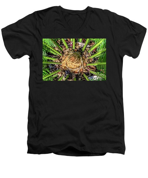 Men's V-Neck T-Shirt featuring the photograph Abstract Nature Tropical Fern 2096 by Ricardos Creations
