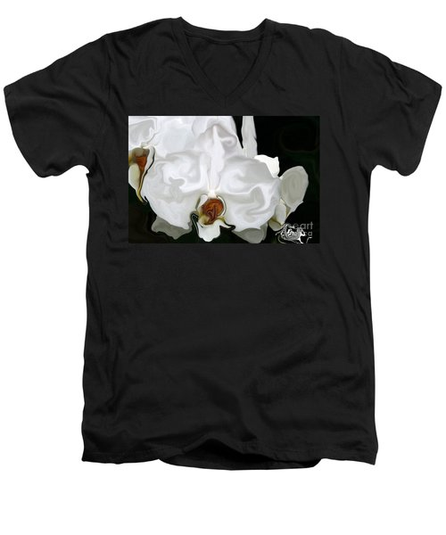 Abstract Orchid  Men's V-Neck T-Shirt