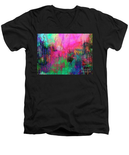 Men's V-Neck T-Shirt featuring the painting Abstract Painting 621 Pink Green Orange Blue by Ricardos Creations