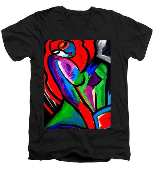 Abstract  Rain Bow Girl Men's V-Neck T-Shirt