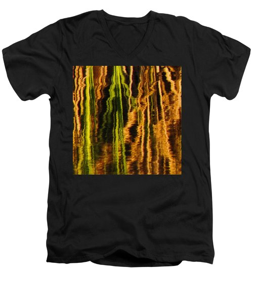 Abstract Reeds Triptych Middle Men's V-Neck T-Shirt