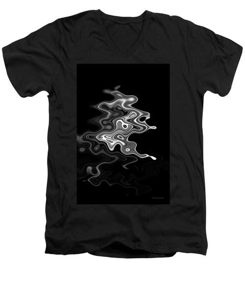Abstract Swirl Monochrome Men's V-Neck T-Shirt