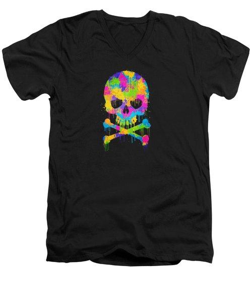 Abstract Trendy Graffiti Watercolor Skull  Men's V-Neck T-Shirt by Philipp Rietz