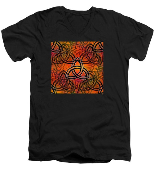 Men's V-Neck T-Shirt featuring the digital art Abstract - Trinity by Glenn McCarthy Art and Photography