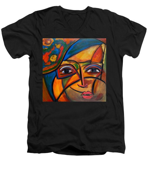 Abstract Woman With Flower Hat Men's V-Neck T-Shirt