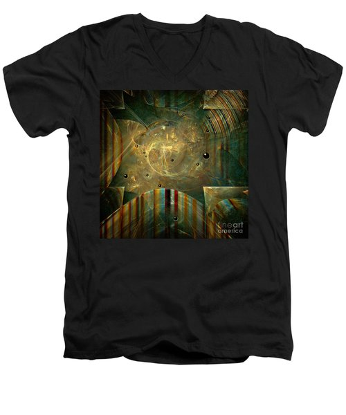 Men's V-Neck T-Shirt featuring the painting Abstractus by Alexa Szlavics