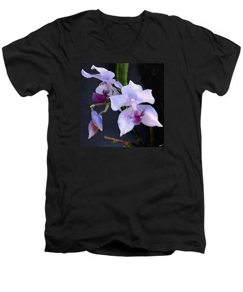 Acacallis Cyanea. Orchid Men's V-Neck T-Shirt by Anthony Fishburne