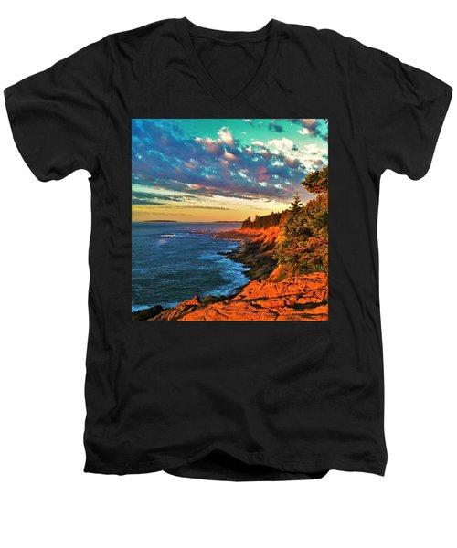 Acadia At Dawn Men's V-Neck T-Shirt