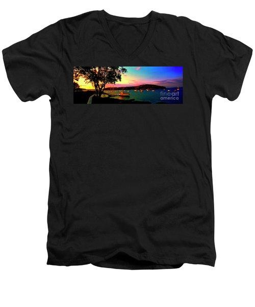 Men's V-Neck T-Shirt featuring the photograph  Acadia Bar Harbor Sunset Cruises by Tom Jelen
