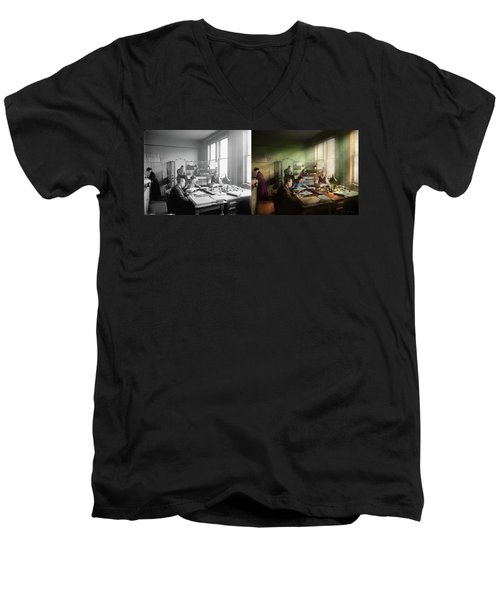 Men's V-Neck T-Shirt featuring the photograph Accountant - The- Bookkeeping Dept 1902 - Side By Side by Mike Savad