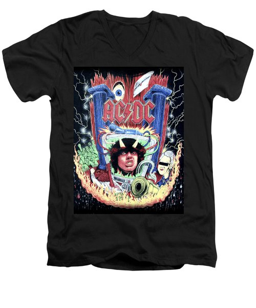 Acdc Men's V-Neck T-Shirt by Gina Dsgn