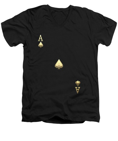 Ace Of Spades In Gold On Black   Men's V-Neck T-Shirt by Serge Averbukh