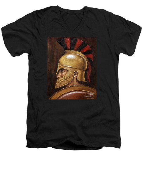Men's V-Neck T-Shirt featuring the painting Achilles by Arturas Slapsys