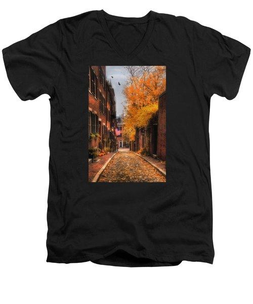 Acorn St. Men's V-Neck T-Shirt by Joann Vitali