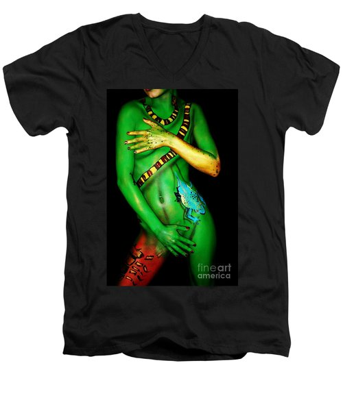 Men's V-Neck T-Shirt featuring the painting acrylic on FLESH by Tbone Oliver