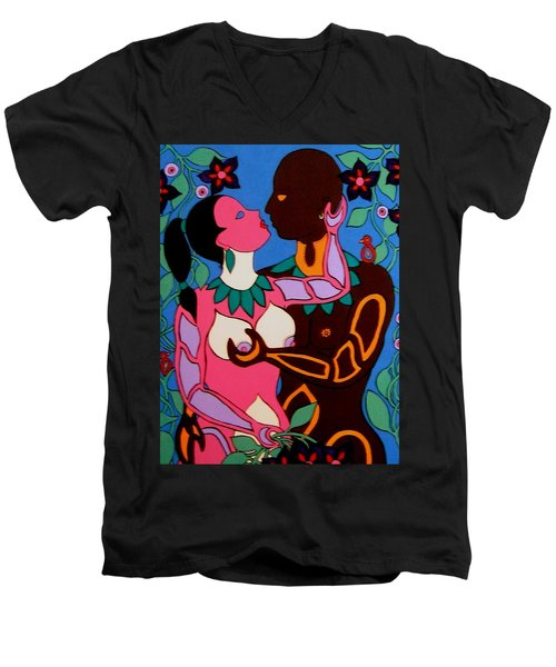 Men's V-Neck T-Shirt featuring the painting Adam And Eve by Stephanie Moore