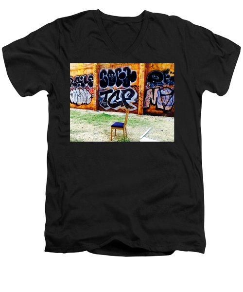 Admiring Barcelona Graffiti Wall Men's V-Neck T-Shirt by Funkpix Photo Hunter