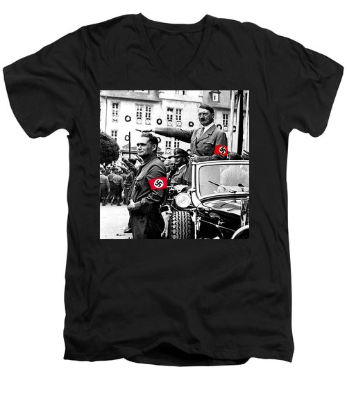 Adolf Hitler Giving The Nazi Salute From A Mercedes #3 C. 1934-2015 Men's V-Neck T-Shirt by David Lee Guss