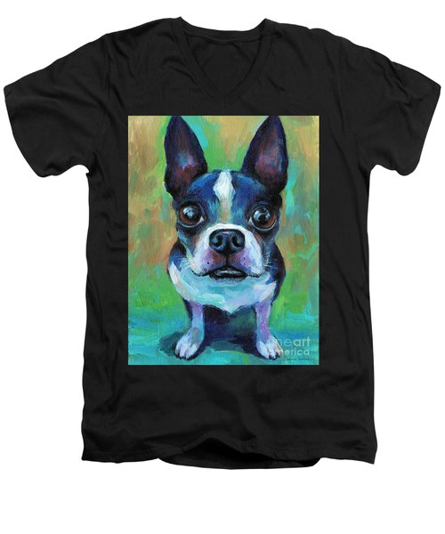 Adorable Boston Terrier Dog Men's V-Neck T-Shirt