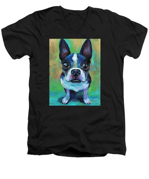 Adorable Boston Terrier Dog Men's V-Neck T-Shirt